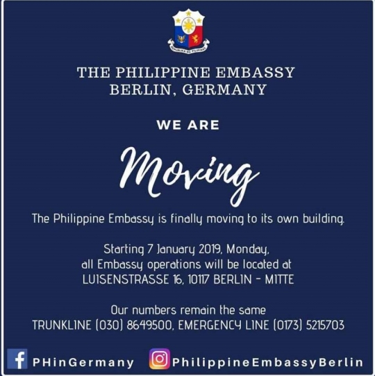 The Philippine Embassy in Berlin is Moving